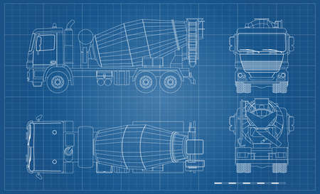 Outline concrete mixer truck. Side, top, front and back views. Lorry blueprint. Industrial drawing. Construction vehicle for build Ilustração