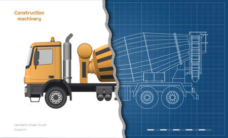 Outline concrete mixer truck. Side, top, front and back views. Orange isolated lorry with cement. 3d industrial blueprint. Construction vehicle for build. Imagens