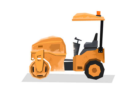 Watercolor vibratory roller. Isolated building machinery image. Cartoon print for kids room. Side view