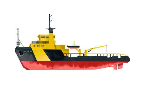 Watercolor ship. Isolated rescue boat poster. Cartoon print for kids room. Side view. Sea transport 免版税图像