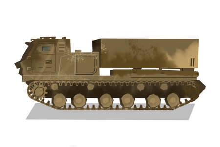 Watercolor rocket launcher. Isolated artillery truck. Cartoon print for kids room. Side view of millitary tank 免版税图像