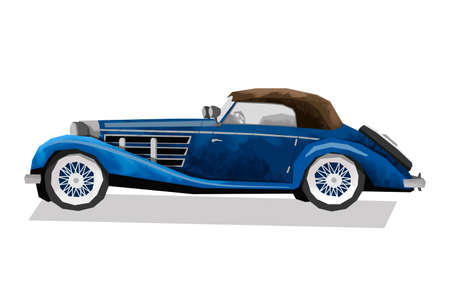 Watercolor retro car. Isolated blue vintage auto. Cartoon print for kids room. Side view 免版税图像