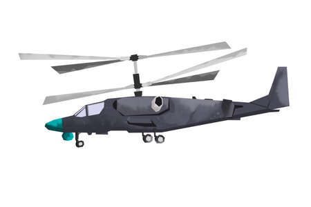 Watercolor millitary helicopter. Isolated aviation vehicle. Cartoon print for kids room. Side view of army machine Imagens