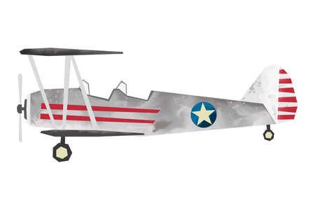 Watercolor retro airplane. Isolated war aicraft. Cartoon print for kids room. Side view of vintage plane