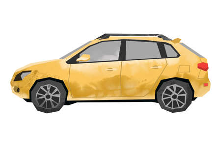 Watercolor yellow car. Isolated automobile. Cartoon print for kids room. Side view of SUV. Urban transportation
