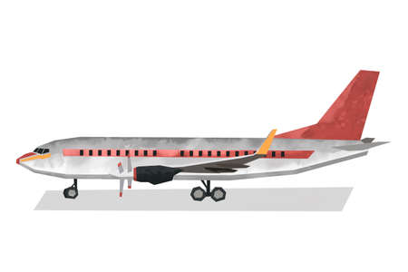 Watercolor civil airplane. Isolated aicraft. Cartoon print for kids room. Side view of plane. Aerial transportation