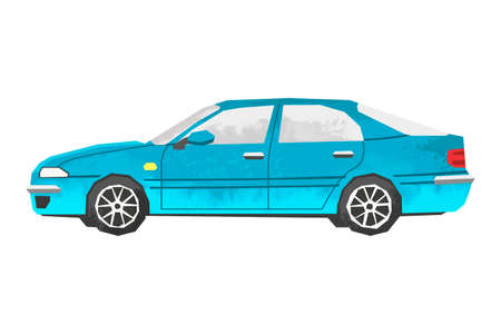 Watercolor blue car. Isolated automobile. Cartoon print for kids room. Side view of vehicle. Urban transportation