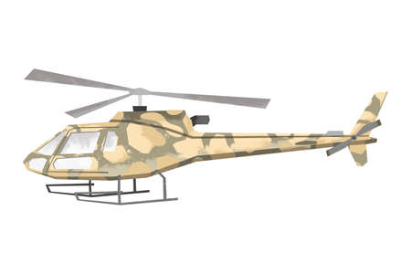 Watercolor millitary helicopter. Isolated aviation vehicle. Cartoon print for kids room. Side view of army machine 版權商用圖片