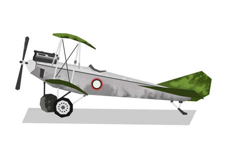 Watercolor millitary airplane. Isolated aviation vehicle. Cartoon print for kids room. Side view of vintage army machine