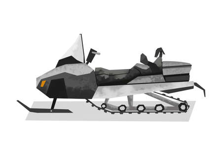Watercolor gray snowmobile. Isolated extreme vehicle. Cartoon print for kids room. Side view of sport transportation 免版税图像