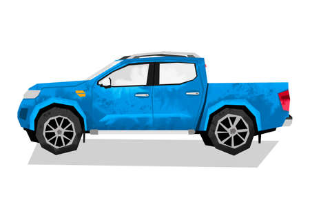 Watercolor blue car. Isolated off-road automobile. Cartoon pickup print for kids room. Side view of SUV. Urban transportation