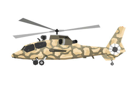 Watercolor millitary helicopter. Isolated aviation vehicle. Cartoon print for kids room. Side view of army camouflage machine