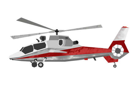 Watercolor helicopter. Isolated civil aviation vehicle. Cartoon print for kids room. Side view. Aerial transportation