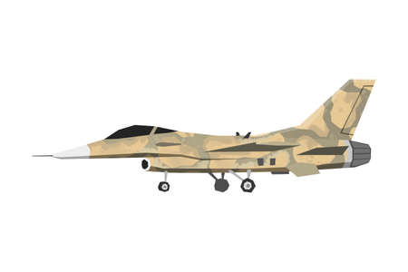 Watercolor millitary airplane. Isolated aviation vehicle. Cartoon print for kids room. Side view of army camouflage aircraft