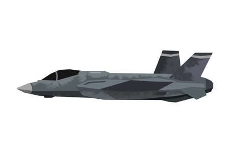 Watercolor millitary airplane. Isolated aviation vehicle. Cartoon print for kids room. Side view of modern army aircraft