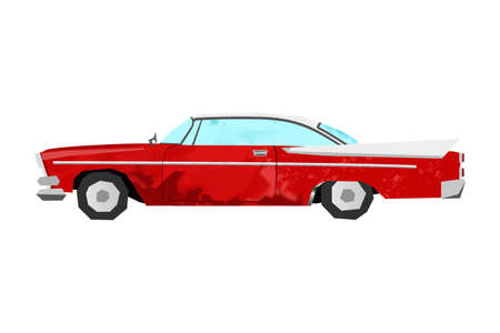 Watercolor retro car. Isolated red vintage auto. Cartoon print for kids room. Side view