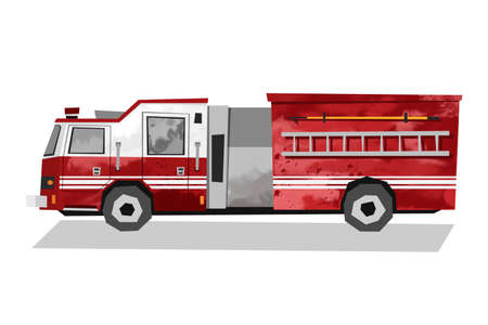 Watercolor red fire truck. Isolated firefighters transport. Rescue car. Cartoon print for kids room. Side view 免版税图像