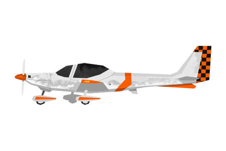 Watercolor sport airplane. Isolated orange aicraft. Cartoon print for kids room. Side view of training plane. Aerial transportation