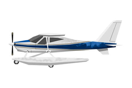 Watercolor civil airplane. Isolated aicraft. Cartoon print for kids room. Side view of hydroplane. Aerial transportation 免版税图像