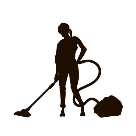 Black silhouette of girl with vacuum cleaner. Isolated woman cleaning floor. Housemaid  doing homework. Housewife vacuuming room