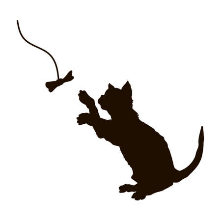 Black silhouette of playing cat. Isolated kitty play bow. Cute pet drawing. Animal icon of action kitten