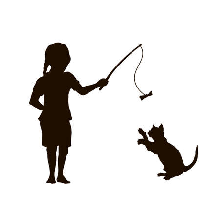 Black silhouette. Girl play with cat. Isolated child playing with kitty. Pet game. Cute friendship