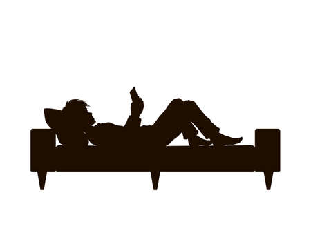 Black silhouette of boy lying with phone. Teenager resting on sofa. Young man watching mobile. Guy with tablet on bed