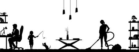 Black silhouette of family in living room. People at home. Domestic scene with daughter and parents. Husband and wife scenery. Flat interior 矢量图像