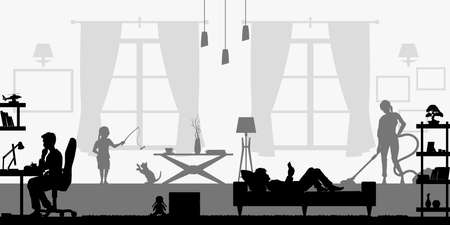 Black silhouette of family in living room. People at home. Domestic scene with daughter, son and parents. Husband and wife scenery. Flat interior. Vector illustration