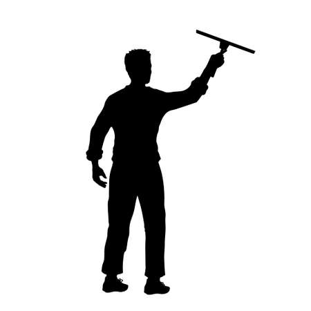 Man cleaning window. Black silhouette of cleaner. Worker tidy glass. Isolate scene of homework