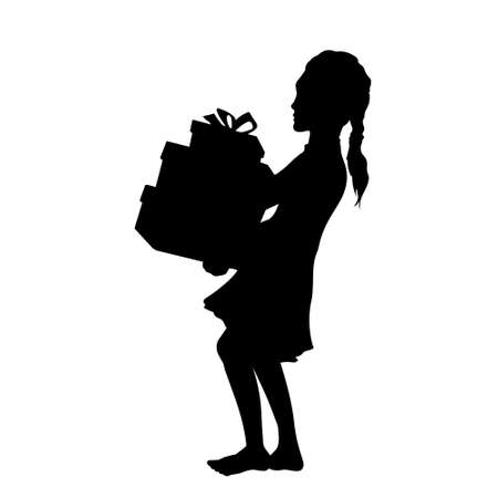Black silhouette of girl with gift boxes. Isolated kid carries presents. Little child birthday. Happy teenager in dress