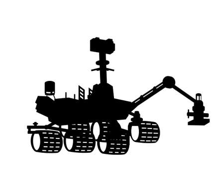 Space rover silhouette. Isolated black robot. Aerospace mars vehicle.  Automated cosmic machine