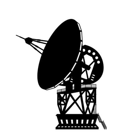Black silhouette of dish space antenna. Astronomy equipment. Radio telescope for science research. Isolated industrial image