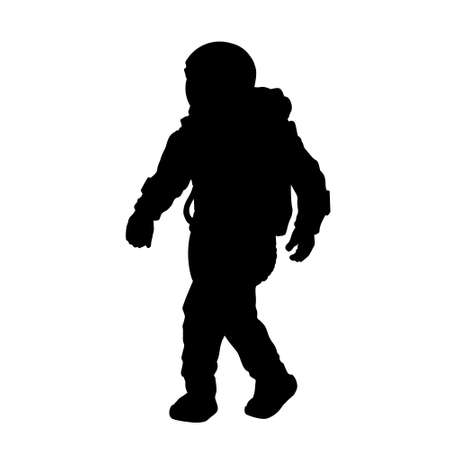 Black silhouette of astronaut. Isolated spaceman. Cosmonaut in space suit