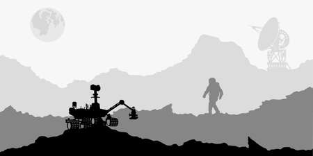 Space landscape. Mars scene with astronaut and antenna. Silhouette panorama. Martian colonization 向量圖像