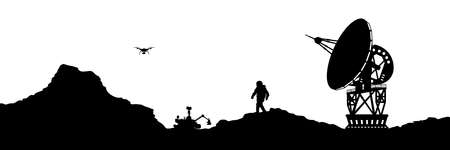 Isolated space landscape. Mars scene with astronaut and antenna. Silhouette panorama. Martian colonization 向量圖像