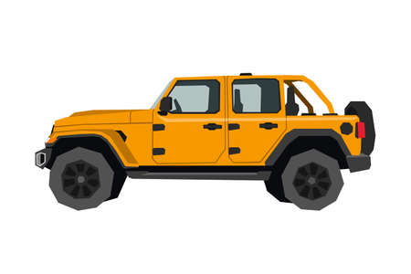 Nursery pickup drawing. Off road car in cartoon style. Isolated vehicle art for kids bedroom decor. Side view of SUV. Orange truck for toddler wall art