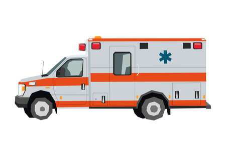 Nursery ambulance car drawing. Rescue medical truck in cartoon style. Isolated vehicle art for kids bedroom decor. Side view. Print for toddler wall art