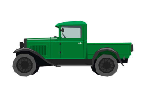 Nursery retro truck drawing. Pickup car in cartoon style. Isolated vehicle art for kids bedroom decor. Side view of vintage automobile. Classic green auto for toddler wall art