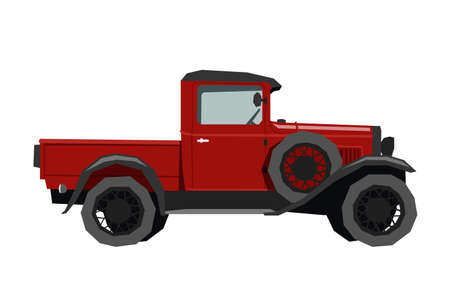 Nursery retro truck drawing. Pickup car in cartoon style. Isolated vehicle print for kids game room decor. Side view of vintage automobile. Classic red auto for toddler wall art