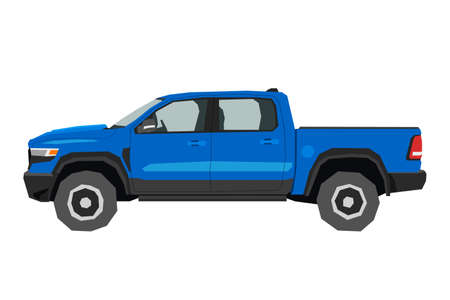 Pickup drawing. Off-road car in cartoon style. Isolated vehicle art for kids bedroom decor. Side view of blue SUV. Truck for nursery decor