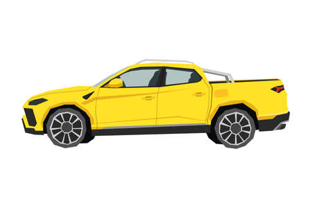 Pickup drawing. Off-road car in cartoon style. Isolated vehicle art for kids bedroom decor. Side view of yellow SUV. Truck for nursery decor 向量圖像