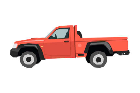 Farm pickup drawing. Off-road car in cartoon style. Isolated vehicle art for kids bedroom decor. Side view of red SUV. Truck for nursery decor 向量圖像