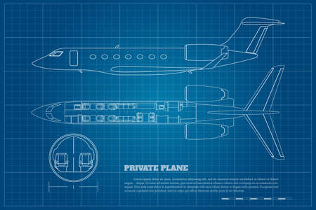 Outline private airplane interior. Side and top view of business plane. Plane seats map. Drawing of commercial aircraft. Luxury jet industrial blueprint. Passenger plan