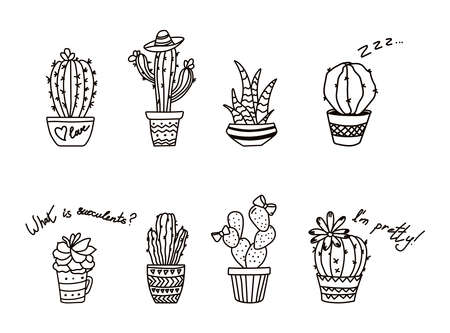 Outline cactus in pot. Contour succulents. Isolated drawing of desert plant. Mexican exotic flora