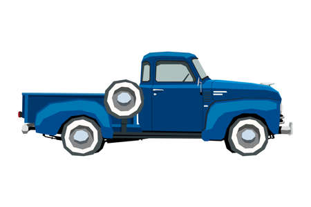 Farm retro pickup drawing. Classic car in cartoon style. Isolated vintage vehicle wall art. Side view. Truck for nursery decor