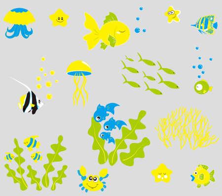 shoal: underwater world animal Illustration