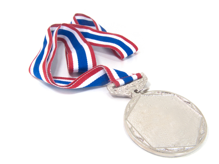 silver medal with tricolor red blue and white.On white background Foto de archivo