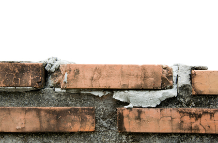 built: hlaf of brick wall isolated on white Stock Photo