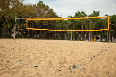 Beach volleyball court with lines